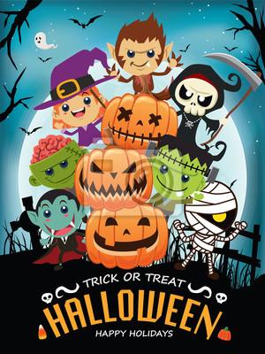 Vintage plakat Halloween plakat z wektora wampirem, czarownica, duch, człowiek wilk, mumia, golarka, postać zombie.