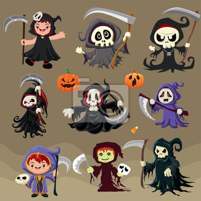 Vintage plakat Halloween plakat z wektorem żniwiarz znaków.