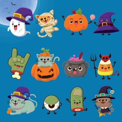 Vintage plakat Halloween projekt z ducha wektor, mumia, dynia, Jack O Lantern, kapelusz, czarownica, zombie, potion potion, słodycze, gałka oczna, postać potwora.