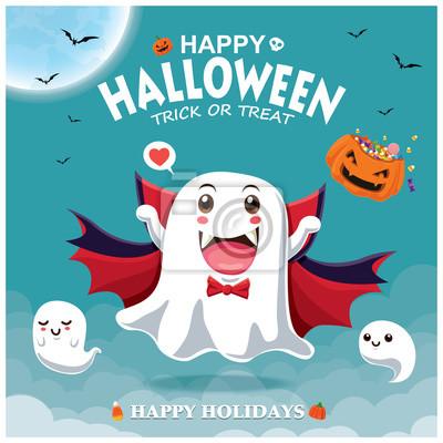 Vintage plakat Halloween projekt z wampirem duch wektor znaków.