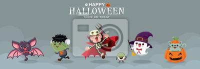 Vintage plakat Halloween projekt z wektor nietoperz, zombie, demon, duch, czarownica, kot, gałka oczna, jack o lantern, postać potwora.