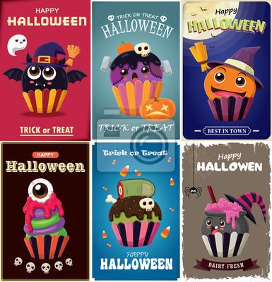 Vintage plakat Halloween projekt z wektor wiedźma, pająk, nietoperz, gałka oczna, zombie, ciastko i duch postaci.