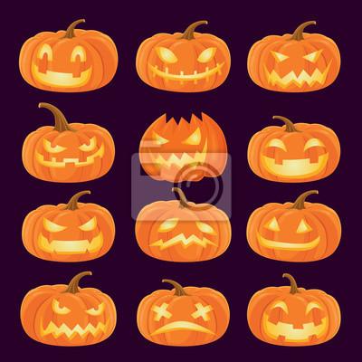 Vintage plakat Halloween projekt z wektora Jack O Lantern, charakter dyni.