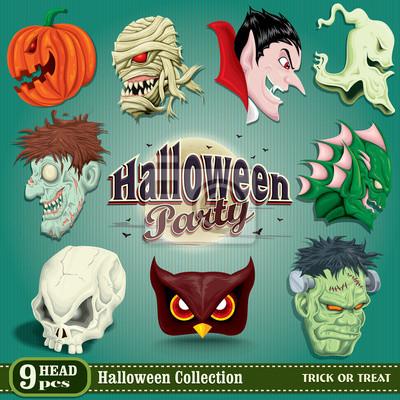Vintage plakat Halloween scenografia