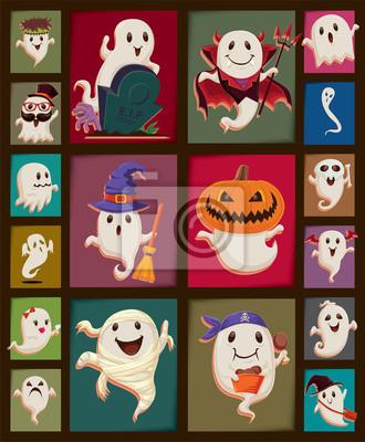 Plakat Vintage plakat Halloween scenografia