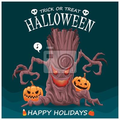 Vintage plakat Halloween z charakterem drzewa potwora.