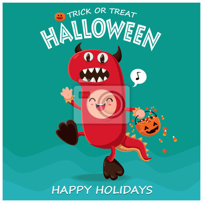 Vintage plakat Halloween z charakterem potwora wektora.