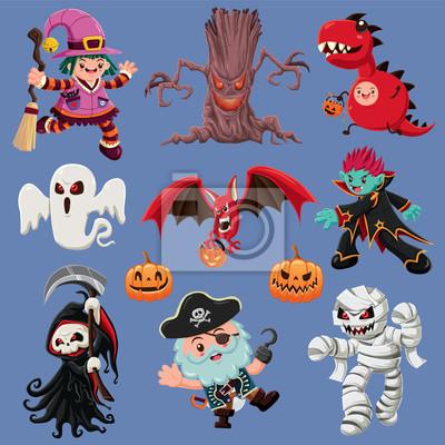 Vintage plakat Halloween z demonem wektor, czarownica, wampir, mumia, duch, nietoperz, piracka, żniwiarz, postać potwora.