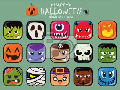 Vintage plakat Halloween z demonem wektor, czaszki, kota, zombie, czarownica, mumia, pirat, szkielet, wampir, duch, żniwiarz charakter.