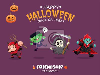 Vintage plakat Halloween z demonem wektorowych, potwora, żniwiarz, charakter wampira.