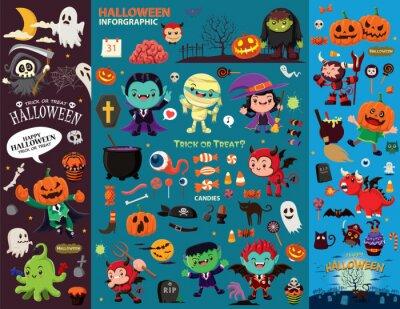 Vintage plakat Halloween z duchem, czarownica, wampir, mumia, żniwiarz, zombie, charakter pirata.