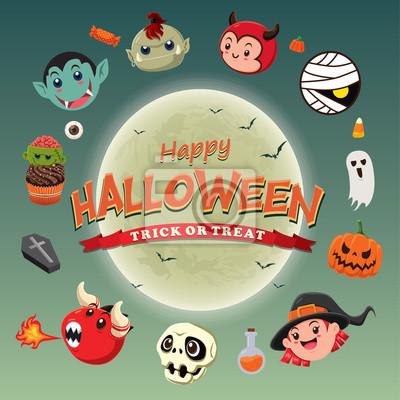 Vintage plakat Halloween z duchem, czarownica, wampir, mumia, zombie, charakter.