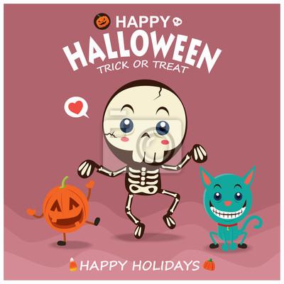 Vintage plakat Halloween z szkieletu wektor i charakteru kota.