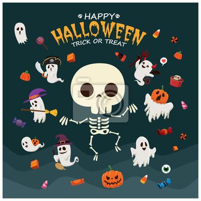 Vintage plakat Halloween z wektora czarownica, duch, wampir, mumia, piracka, szkielet znaków.
