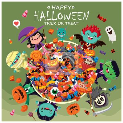 Vintage plakat Halloween z wektora czarownica, duch, wampir, mumia, żniwiarz, kot znaków.
