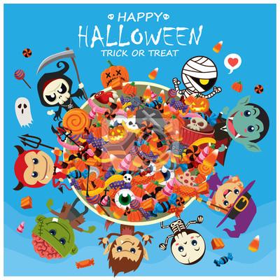 Vintage plakat Halloween z wektora czarownica, duch, wampir, mumia, żniwiarz, zombie, wilk mężczyzna, szkielet znaków.
