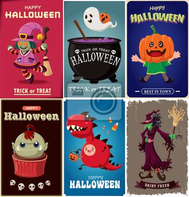 Vintage plakat Halloween z wektora czarownica, duch, zombie, smoka, postaci.