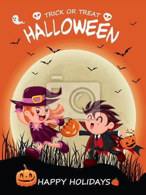 Vintage plakat Halloween z wektora czarownica i wampirem znak.