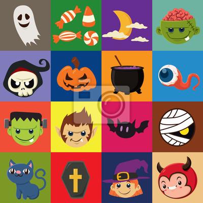 Vintage plakat Halloween z wektora czarownica, mumia, czarownica, zombie, diabeł, wampir, duch, żniwiarz, wilk, charakter ducha.