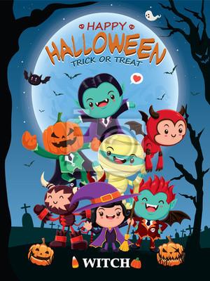 Vintage plakat Halloween z wektora czarownica, mumia, wampir, duch, żniwiarz charakter.