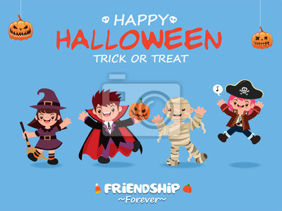 Vintage plakat Halloween z wektora czarownica, wampir, mumia, charakter pirata.
