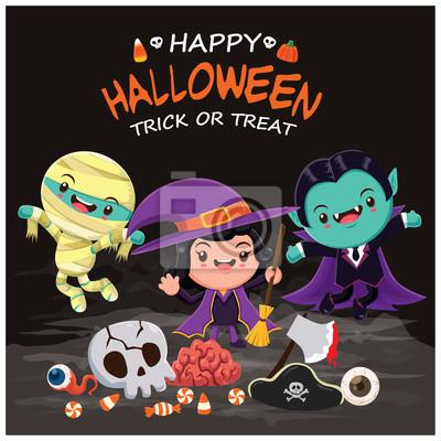 Vintage plakat Halloween z wektora czarownica, wampir, mumia znaków.