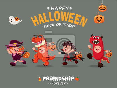 Vintage plakat Halloween z wektora czarownica, wampir, T-rex, smoka.