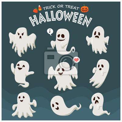 Vintage plakat Halloween z wektora ducha charakteru.