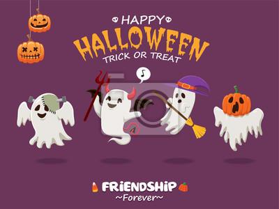 Vintage plakat Halloween z wektora ducha w potwora, demon, czarownica, kostium.