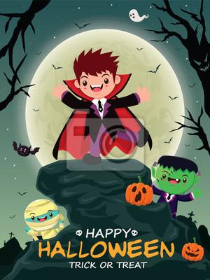 Vintage plakat Halloween z wektora wampirem, mumia charakter.