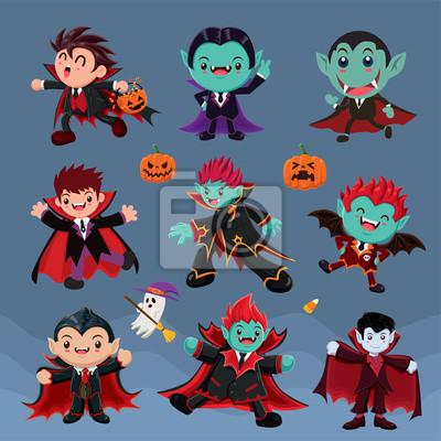 Vintage plakat Halloween z wektora wampirem znaków.
