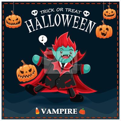 Vintage plakat Halloween z wektora wampirem znaku.