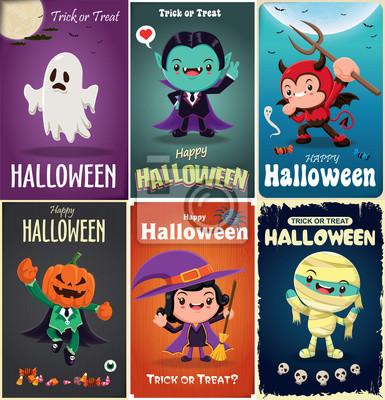 Vintage plakat Halloween z wektorem demon, czarownica, wampir, mumia, postać potwora.