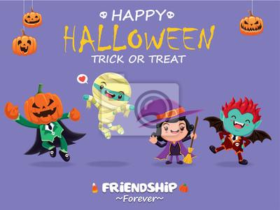 Vintage plakat Halloween z wektorem jack o latarnia, mumia, czarownica, wampirem charakteru.
