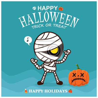 Vintage plakat Halloween z wektorem mumia charakteru.