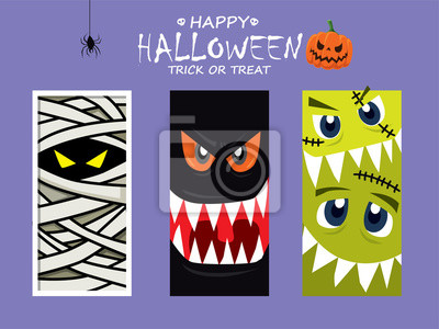 Vintage plakat Halloween z wektorem potwora, wampir, mumia charakter.