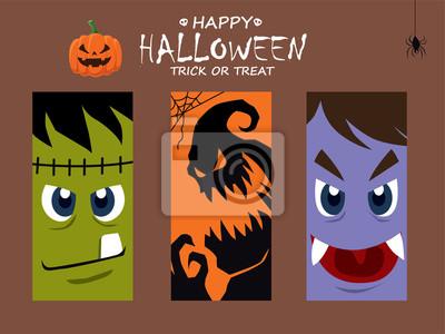 Vintage plakat Halloween z wektorem potwora, wampirem, charakter ducha.