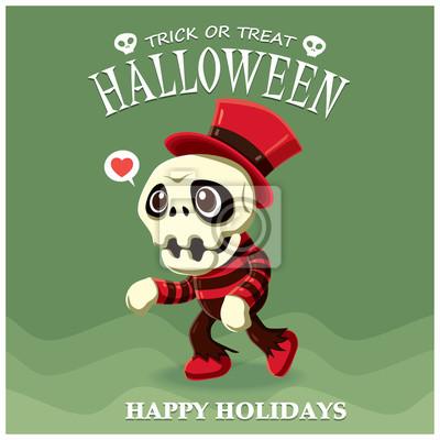 Vintage plakat Halloween z wektorem szkielet charakter.