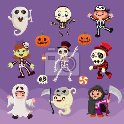 Vintage plakat Halloween z wektorem szkielet znaków.