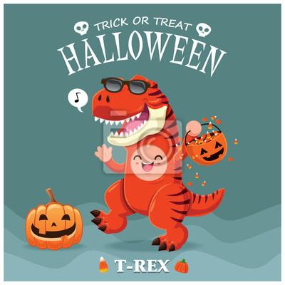 Vintage plakat Halloween z wektorem T-Rex dinozaur znak.