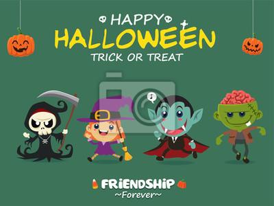 Vintage plakat Halloween z wektorem żniwiarz, czarownica, wampir, postać zombie.