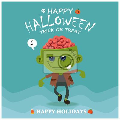 Vintage plakat Halloween z wektorem zombie znaków.