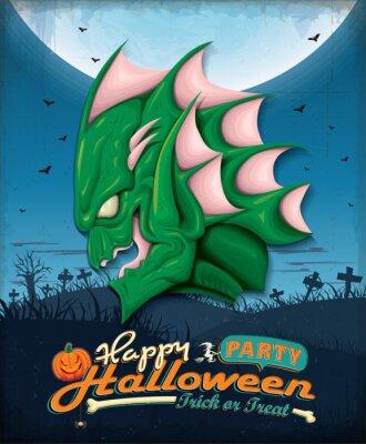 Vintage plakat Halloween zestaw z bagna stworzenia projektu