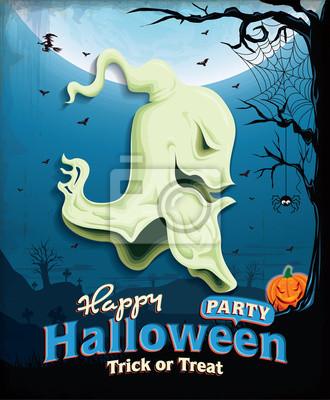 Vintage plakat Halloween zestaw z głową duchów projekt