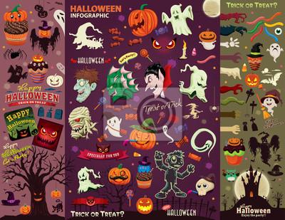 Vintage plakat Halloween zestaw z wektora projektowania wampir, czarownica, mumii, Wilkołak, duch, charakter.