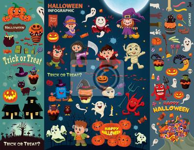 Vintage plakat Halloween zestaw z wektora projektowania wampir, czarownica, mumii, Wilkołak, duch, żniwiarz, charakter.