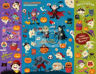 Vintage plakat Halloween zestaw z wektora projektowania wampir, czarownica, mumii, Wilkołak, duch, żniwiarz, zombie, postać pirata.