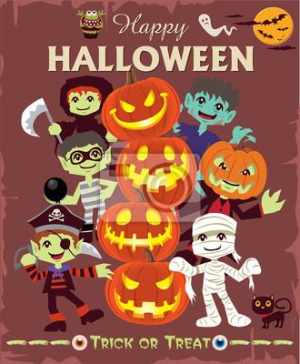 Plakat Vintage plakat Halloween znaków scenografia