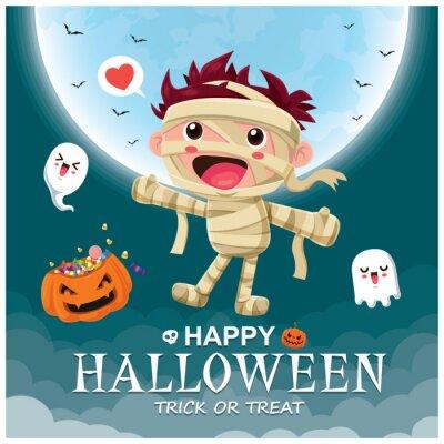 Vintage plakat Halloweenowy charakter z mumią wektorową i postacią ducha.