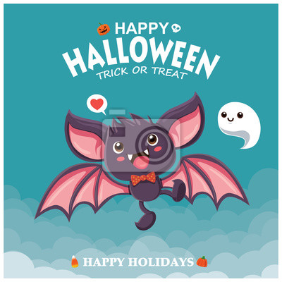 Vintage plakat Halloweenowy projekt z nietoperzem i postacią wektorową.
